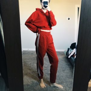 Red Sweat Suit Set